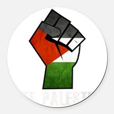 Free Palestine White Round Car Magnet