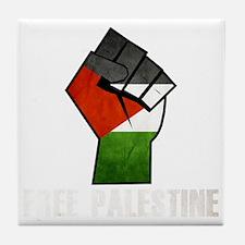 Free Palestine White Tile Coaster
