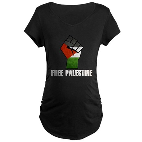 Free Palestine White Maternity Dark T-Shirt