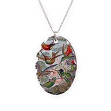 Vintage Hummingbirds Painting Necklace