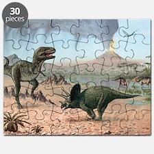 Late Cretaceous life, artwork Puzzle