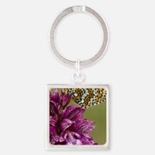 Lady Orchid (Orchis purpurea) Square Keychain