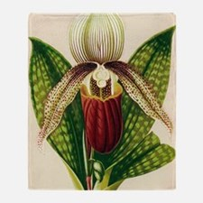 Lady's slipper orchid Throw Blanket
