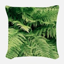 Lady fern fronds (Athyrium fil Woven Throw Pillow