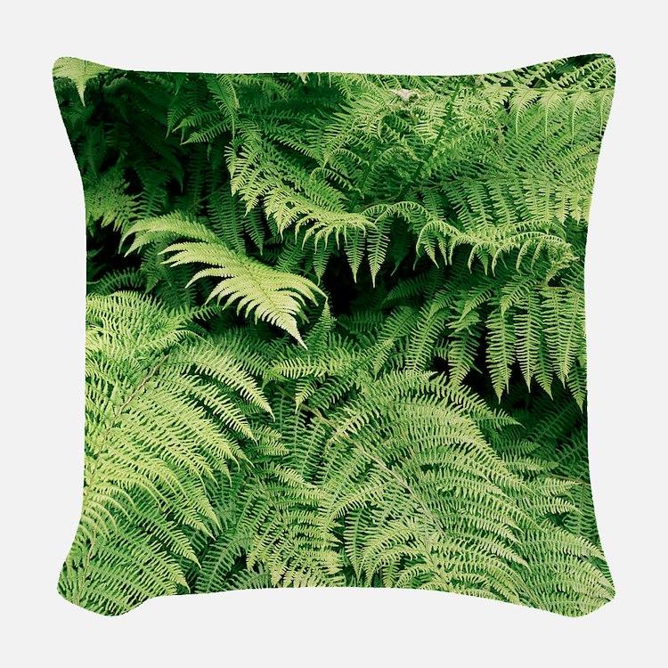 Lady fern fronds (Athyrium fil Woven Throw Pillow