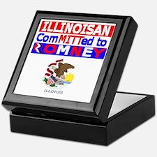 ILLINOISROMNEYFLAG Keepsake Box