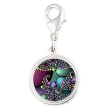 Julia fractal Silver Round Charm