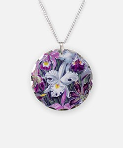 19th C Vintage Orchid Painti Necklace