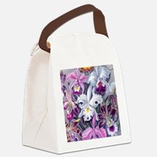 19th C Vintage Orchid Painting Canvas Lunch Bag