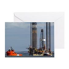 Jackup oil drilling rig, North Sea Greeting Card