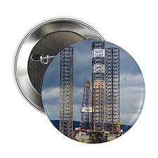 """Jackup oil drilling rig, North Sea 2.25"""" Button"""