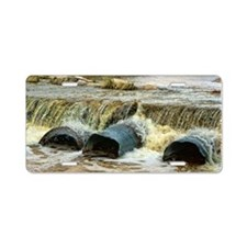 rushing river - hdr Aluminum License Plate