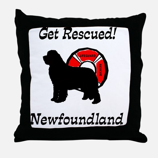 Newfie Get Rescued Throw Pillow