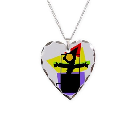 Abstract Jack in the Box Necklace Heart Charm
