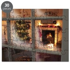 Christmas tree in living room behind window Puzzle