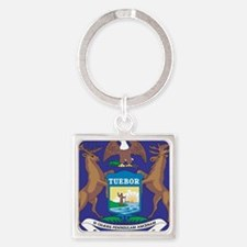 Michigan State Flag Square Keychain