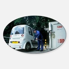 Hydrogen fuel cell car refuelling Sticker (Oval)