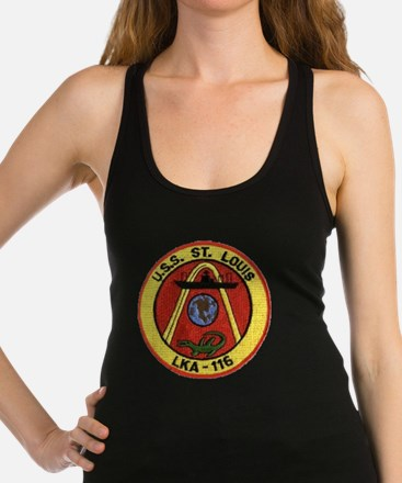 uss st louis patch transparent Racerback Tank Top