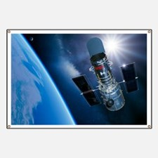 Hubble Space Telescope in orbit, artwork Banner
