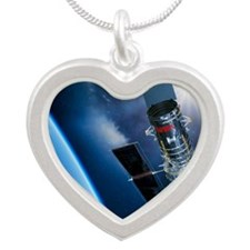 Hubble Space Telescope in or Silver Heart Necklace