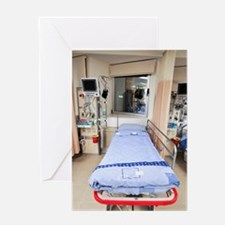 Hospital intensive care unit bed Greeting Card