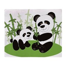 Panda Bamboo Family Throw Blanket