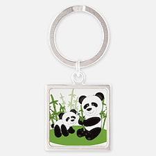 Panda Bamboo Family Keychains