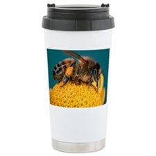 Honey bee on flower Travel Coffee Mug