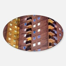 High-rise flats at night Decal