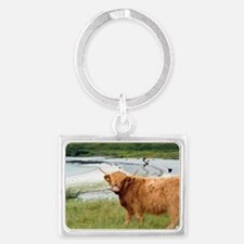 Highland cattle by the sea Landscape Keychain