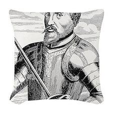 Hernando de Soto, Spanish expl Woven Throw Pillow