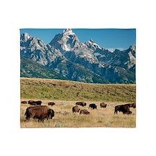 Herd of American Bison Throw Blanket