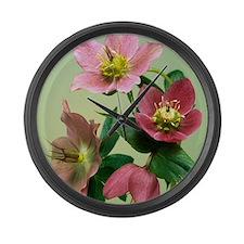 Hellebore flowers Large Wall Clock