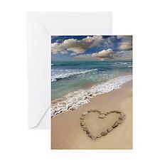 Heart-shape on a beach Greeting Card