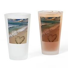 Heart-shape on a beach Drinking Glass