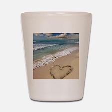 Heart-shape on a beach Shot Glass