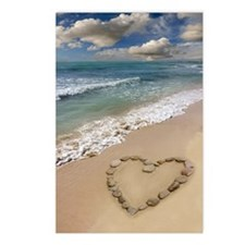 Heart-shape on a beach Postcards (Package of 8)
