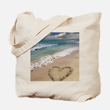 Heart-shape on a beach Tote Bag