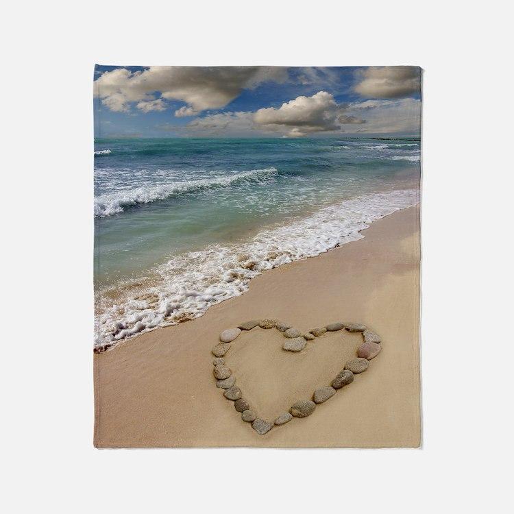 Heart-shape on a beach Throw Blanket