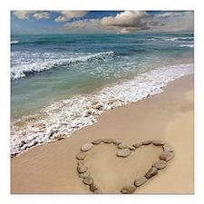 "Heart-shape on a beach Square Car Magnet 3"" x 3"""