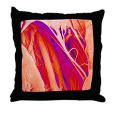 Heart valve and strings, SEM Throw Pillow