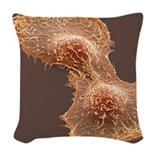 HeLa cell division, SEM Woven Throw Pillow