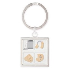 Hearing aids, artwork Square Keychain