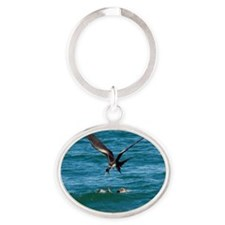 Great frigatebird and blue-footed bo Oval Keychain