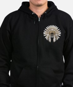 Native War Bonnet 5 Zip Hoodie