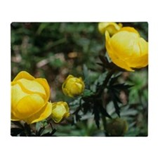 Globe flowers (Trollius europaeus) Throw Blanket