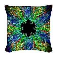Glutamine synthetase enzyme Woven Throw Pillow