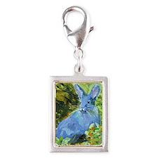 Blue Bunny Silver Portrait Charm