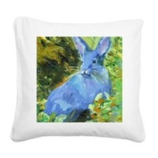 Blue Bunny Square Canvas Pillow