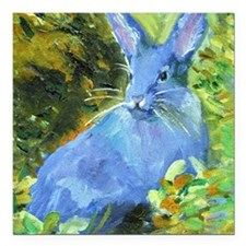 "Blue Bunny Square Car Magnet 3"" x 3"""